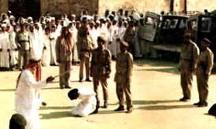 A clandestine picture taken of a beheading about to take place in Saudi Arabia