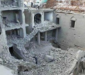 Remains of St. Mary's Church in Homs, Syria (Barnabas Fund photo)